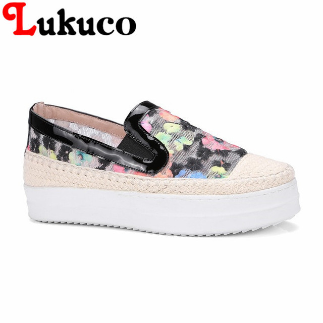 6d558ceb88de Lukuco leisure women wedges pumps mesh and hemp made mix colors embroider  design sweet high heel shoes with pigskin inside