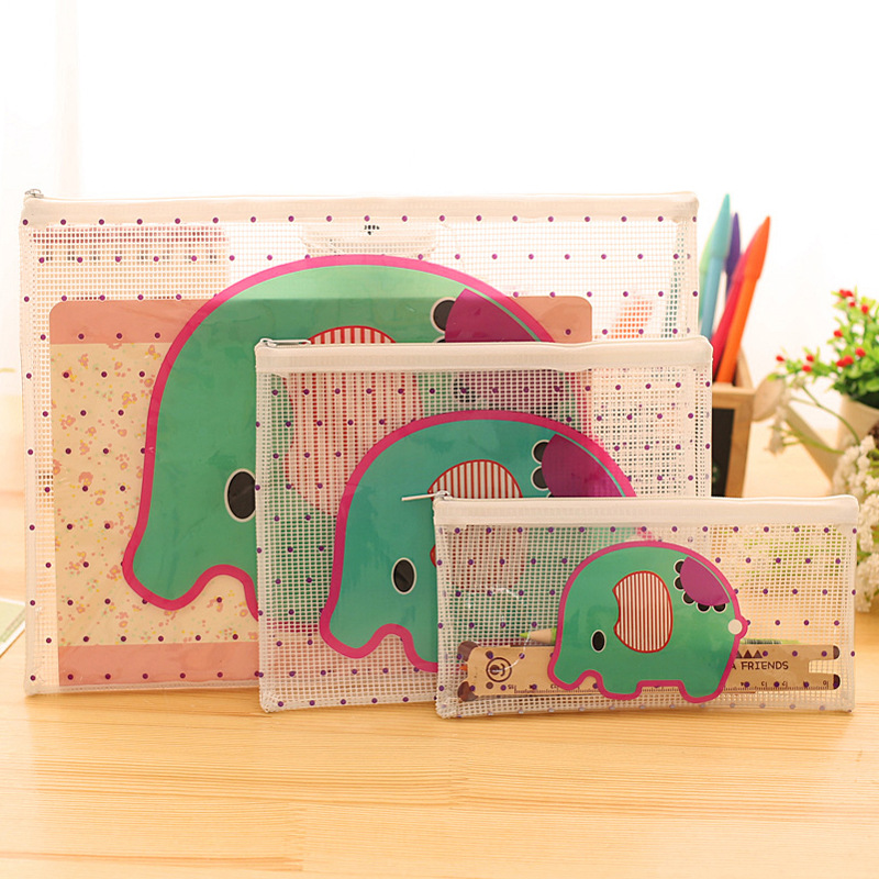 Korean cute cartoon elephant grid transparent document bag PVC bag can be customized LOGO direct manufacturers