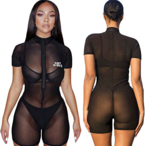 2019 새로운 여성의 관점 짧은 소매 romper 점프 슈트 sheer fishnet cover up 지퍼 stretchy bodysuit club bodycon pants