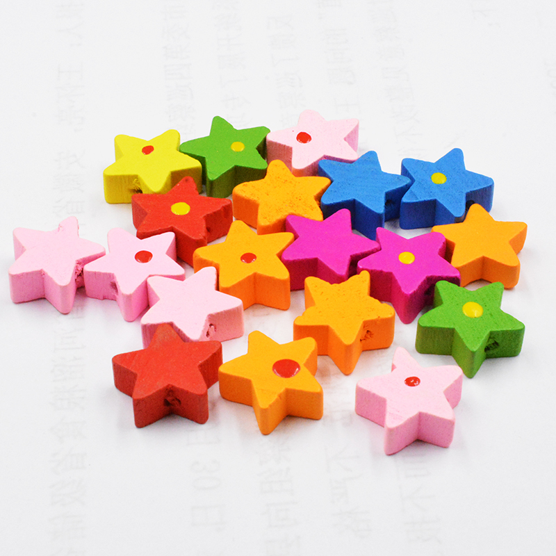 15.1mm Five-pointed Star Wooden Beads 24pcs/lot * *  fashion jewelry wholesale spacers wooden beadswood lampwork shamballa