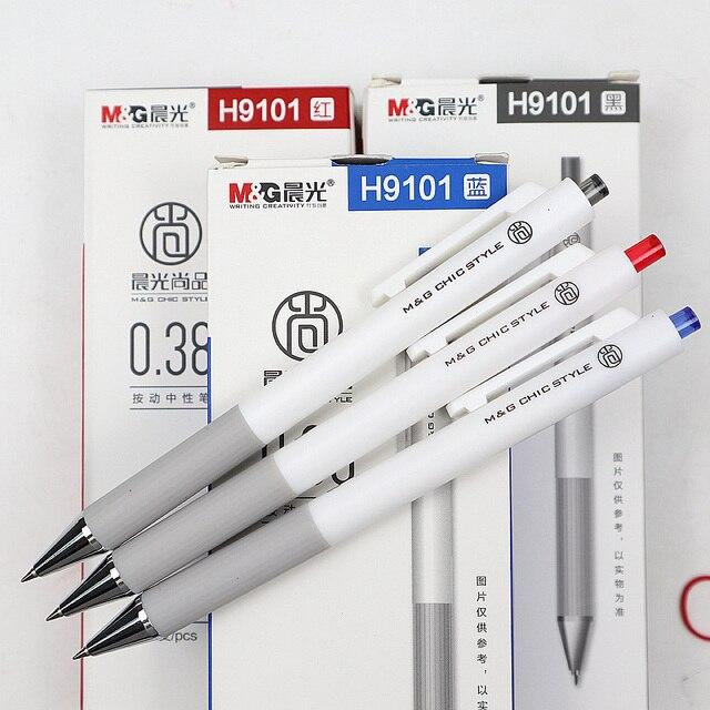 M & G пресс тип гелевая ручка 3 шт. 0 .. 38 мм канцелярские принадлежности гелевые ручки для студентов письма черный красный синий гель высокого к...