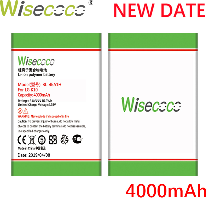 Wisecoco BL-45A1H 4000mAh 3.8V Bateria Para LG K10 F670L F670K F670S F670 K420N K10 Q10 K420 LTE Telefone substituição da bateria