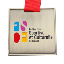 Chinese factory production medal custom metal sports cheap promotion square red ribbons