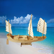 Free shipping scale 1 148 Wooden Sailboat green eyebrow wood model ship Handmade Toy DIY children