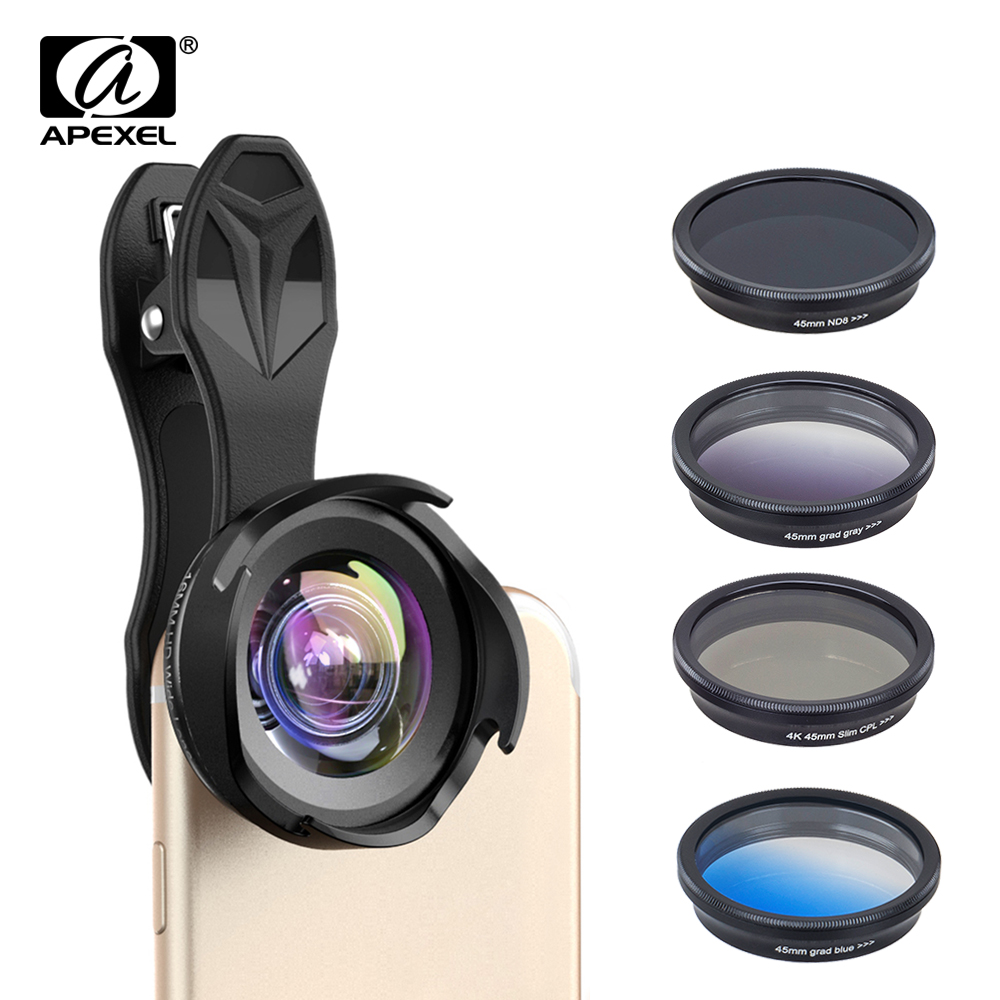 APEXEL All In All Phone Camera Lens Kit Professional Wide/macro Lens With Grad Filter CPL ND Filter For IPhoneX Andriod Phones