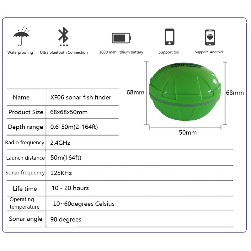 Portable Fish Finder Bluetooth Wireless Echo Sounder for Lake Sea Fishing IOS & Android