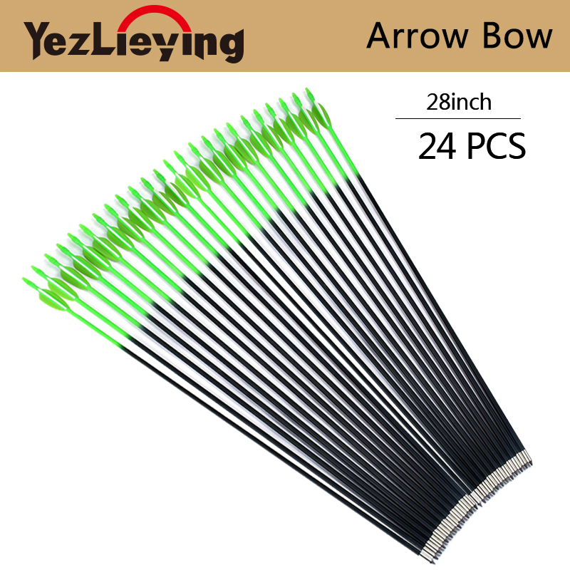 24pcs 28-inch hunting high quality replaceable arrow rainbow emerald green arrow target practice outdoor hunting and shooting