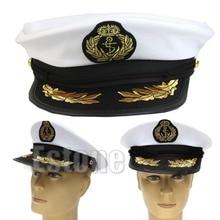 цена J117-Free shipping White Adult Yacht Boat Captain Navy Cap Costume Party Cosplay Dress Sailor Hat онлайн в 2017 году