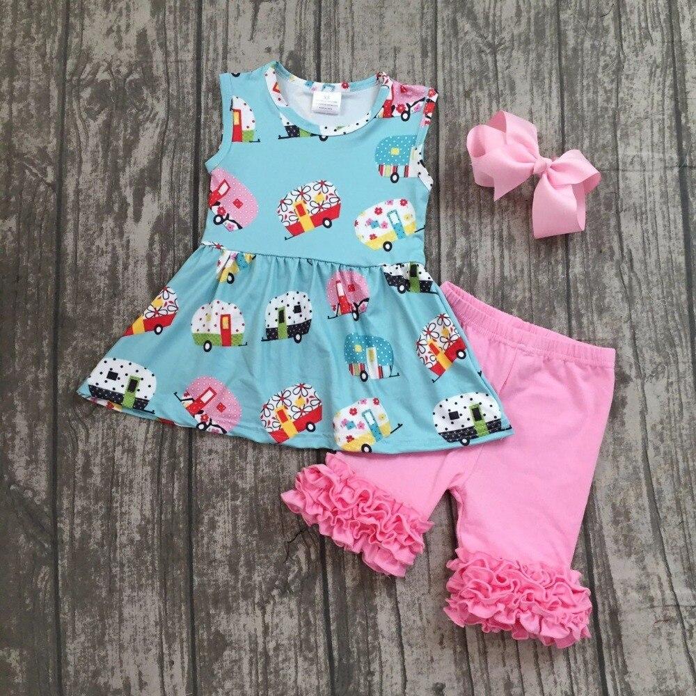 Детская модная одежда для девочек обратно в школу наряды для девочек автомобилей Кемпер школьная одежда с розовыми рюшами Шорты с бантами