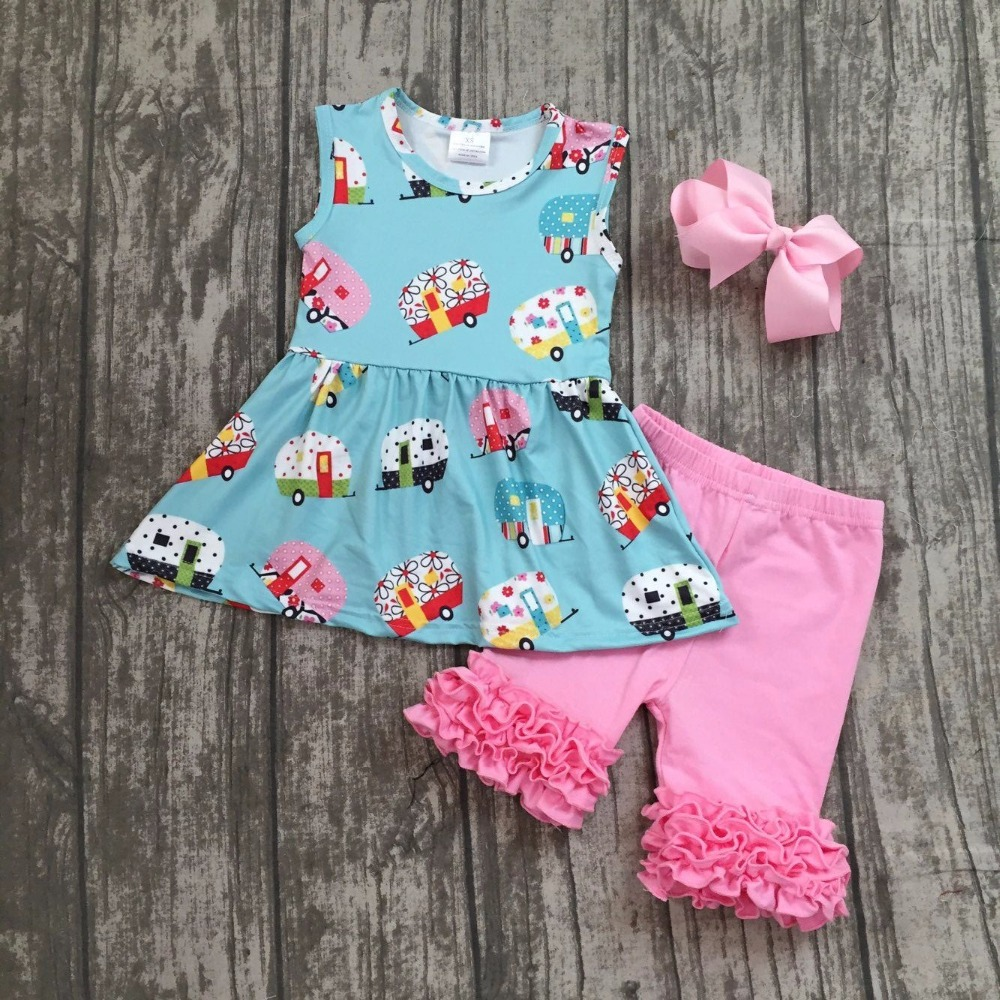 все цены на baby girls boutique clothing girls kid back to school outfits girls car camper school clothing with pink ruffle shorts with bows