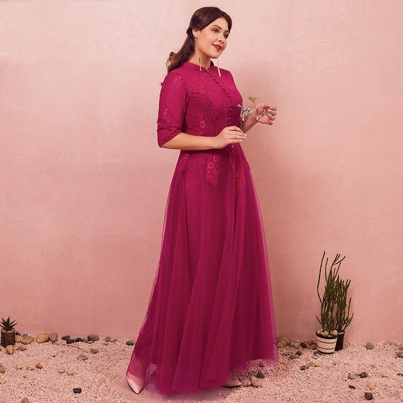 Plus SizE Burgundy High Neck Lace Vestidos De Festa Button A-line   Bridesmaid     Dresses   Half Sleeve Half Sleeve Prom Prom Gowns