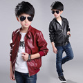 Hot selling!!2016 Kids Spring Stand Collar Solid jacket boys PU leather jacket kids motorcycle leather outwear factory outlets