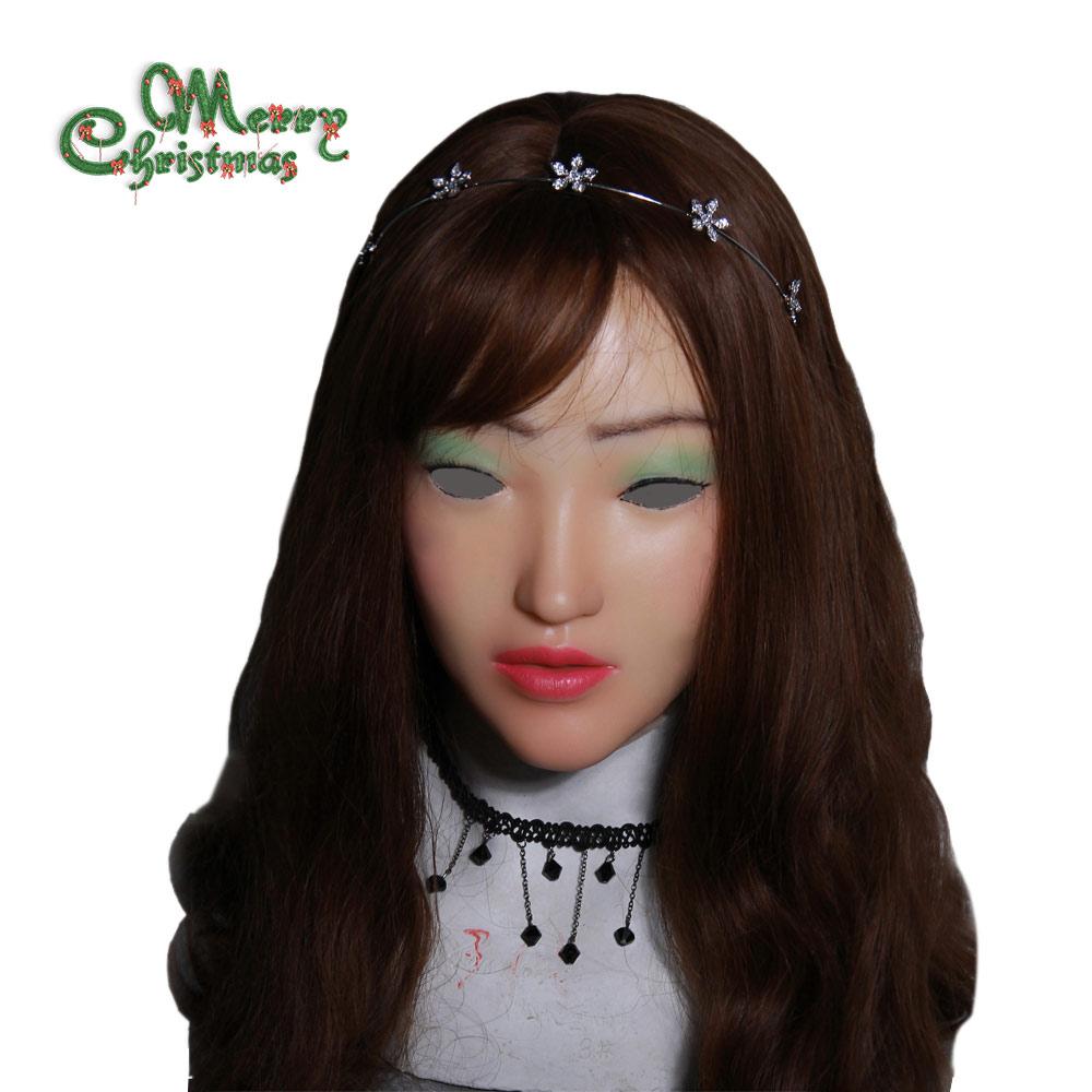 YR-H-Sophia-N3 Top kualitas crossdresser silikon wajah perempuan, wajah realistis untuk natal dan halloween