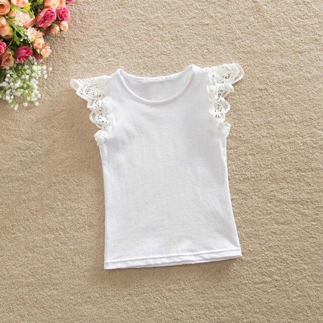 מכירת חמה צמרות צבע רב לילדים בייבי בנות פשוט חולצות טריקו חמוד עף שרוול חולצה תחרה חולצה חולצות בגדים רכים 0-4Y