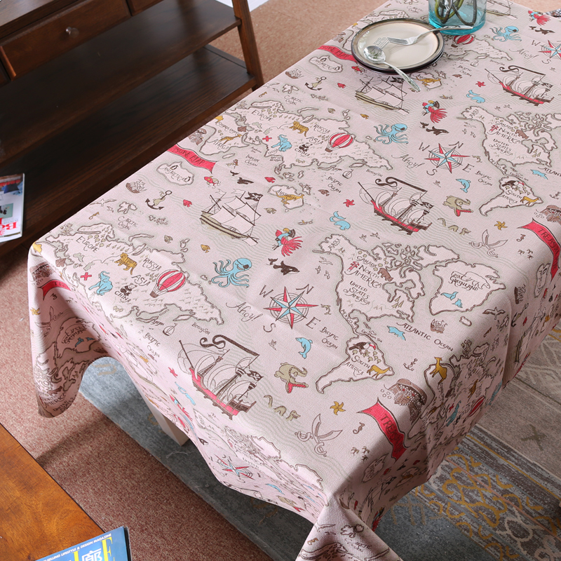 Mediterranean style travel world map cotton linen table cloth home mediterranean style travel world map cotton linen table cloth home textile party kitchen dining table cover rectangle tablecloth in tablecloths from home gumiabroncs Choice Image