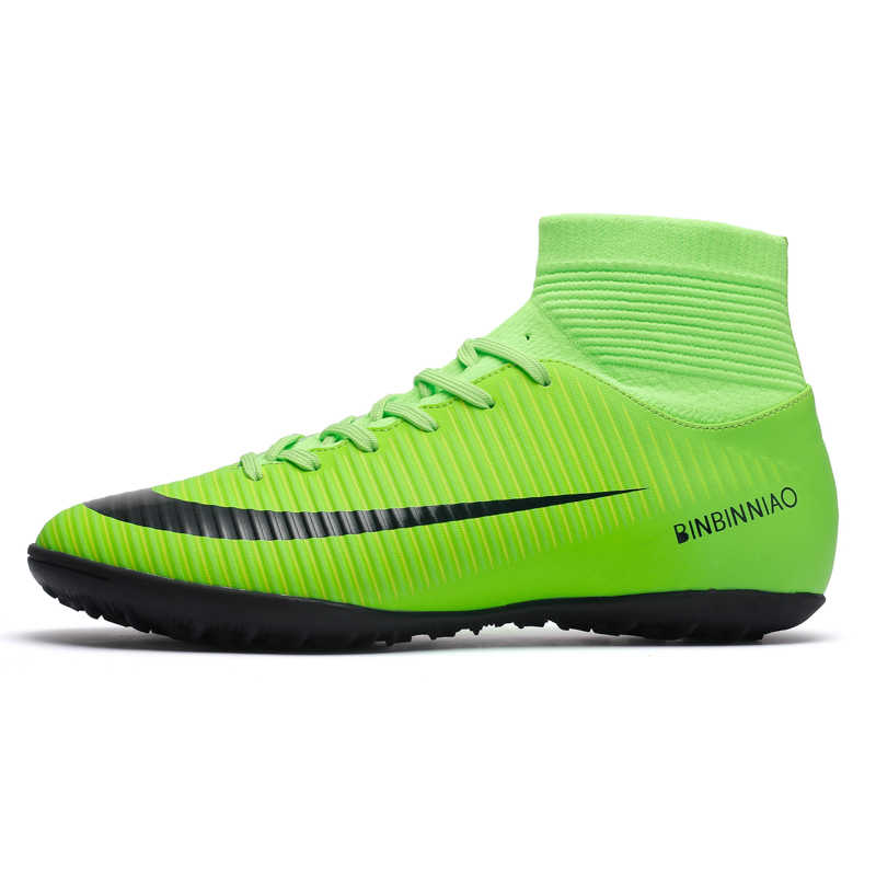 db9f7a717 Men Soccer Shoes Men Football Boots 2018 New TF Indoor Men's Futsal Cleats  High Ankle Boys
