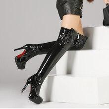 Más el tamaño 34-48 mujeres botas de cuero de patente sobre la rodilla botas para las mujeres negro rojo sexy zapatos de tacón alto botas largas de baile de tubo botas