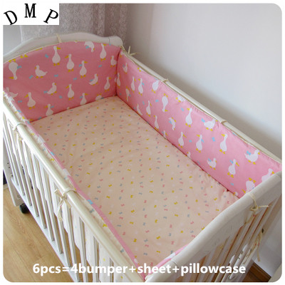 Promotion! 6pcs Cartoon Newborn cot crib bedding set baby cot sets baby bed bumper set,include (bumper+sheet+pillow cover)