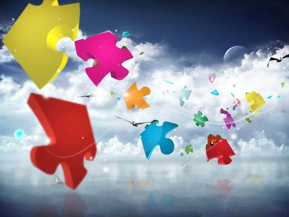 Wall decoration prints Abstract canvas piantings High-tech puzzles flight sky clouds colorful