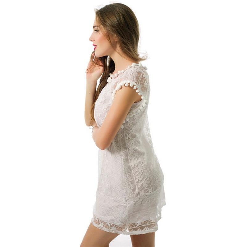 NIBESSER Sexy Women Casual Sleeveless Mini Lace Dress Hot Summer Beach Dress Tassel Solid White Plus Size Beach Short Dress 1