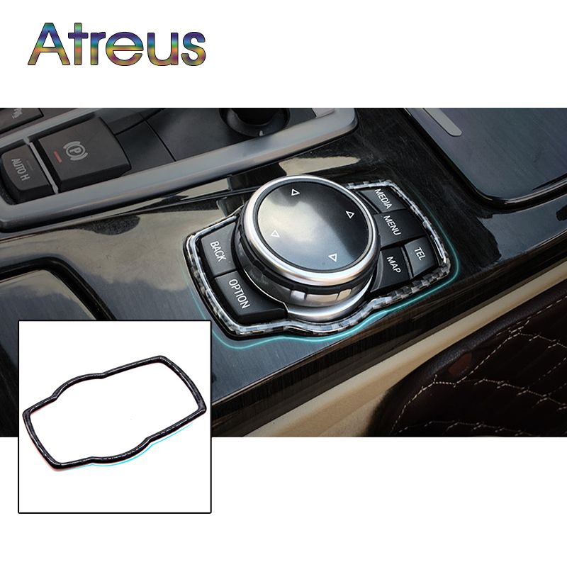 Atreus Carbon Fiber Car Multimedia Buttons Cover Stickers For BMW F30 F35 Accessories For BMW 3-Series 320i 328i GT Styling 2x red red lens rear bumper reflector warning light for bmw f30 f35 328i 320i 335i auto car styling 3099