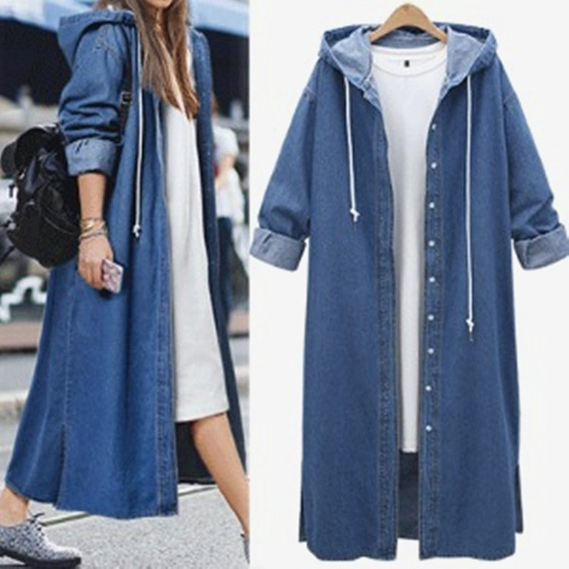 New Spring Autumn Women   Trench   Vestidos Plus Size Casual Loose Solid Single Breasted Hooded Jeans Coat For Women Large   Trench