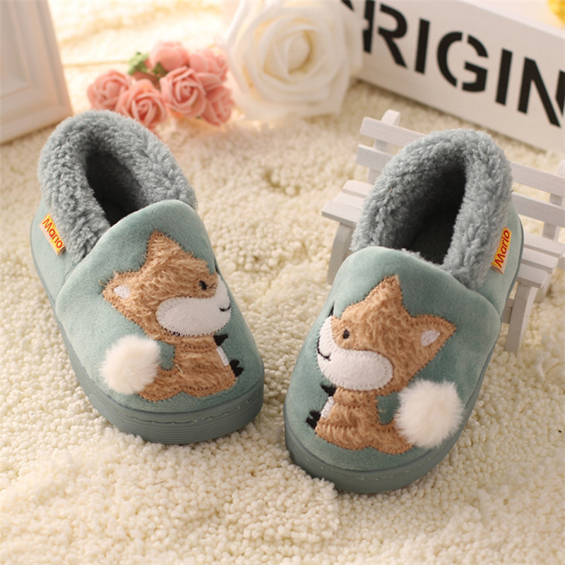 Kids Boys Girls Slippers Cartoon Fox Girls Home Shoes For Children Winter Boys Indoor Bedroom Slippers Warm Velvet Baby Boots