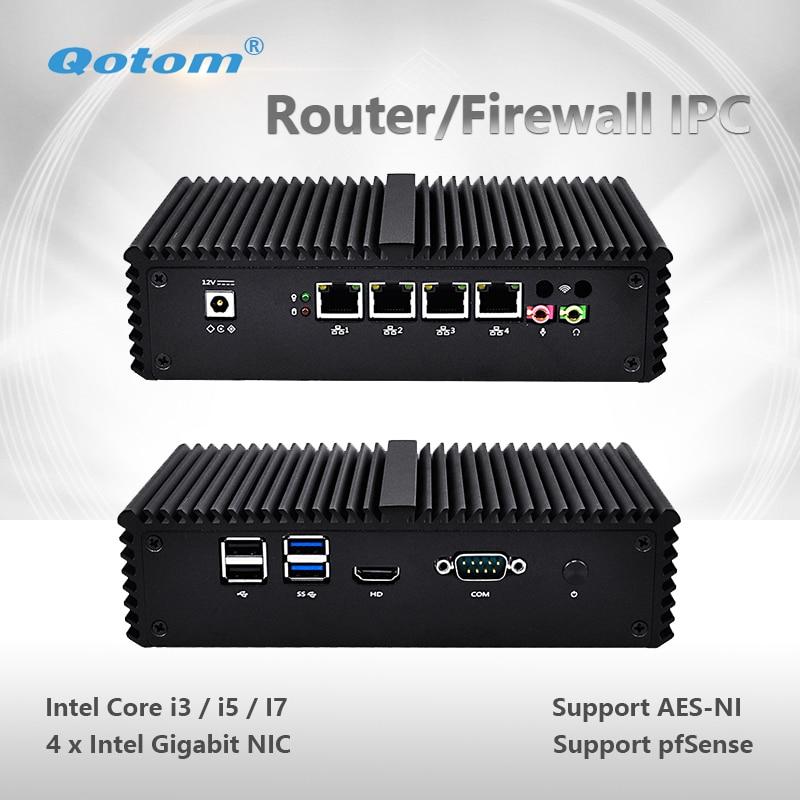 Qotom-Q300G4-S05 Qotom Mini PC Core i3 i5 i7 AES-NI Linux Pfsense 4 Gigabit LAN Piccolo Piccolo Computer Desktop