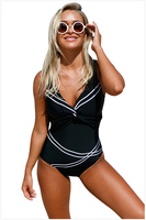 Gratis Verzending Girly Sailor Lace Up Een Stuk Baden pak 4F410241 Sexy V-hals Terug Cross Bandjes Bandage Gestreepte badmode