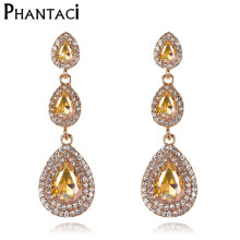 Geometric Water Drop Crystal Bridal Long Drop Pendant Earrings for Women Tassel Dangle Earring Gold Color