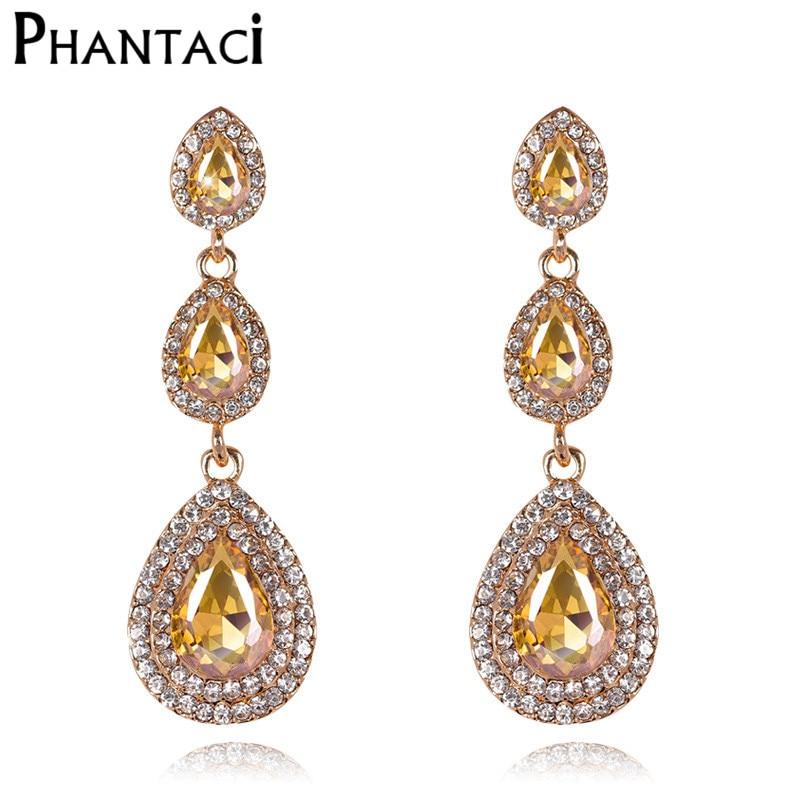 Geometric Water Drop Crystal Bridal Long Drop Pendant Earrings for Women Tassel Dangle Earring Gold Color Party Wedding Jewelry