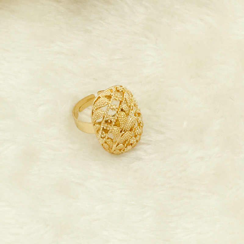 קסם אפריקאי נשים המפלגה תכשיטי סטי חיים עץ עלה שרשרת עגילי טבעת אופנה כלה חתונה זהב-צבע אביזרים