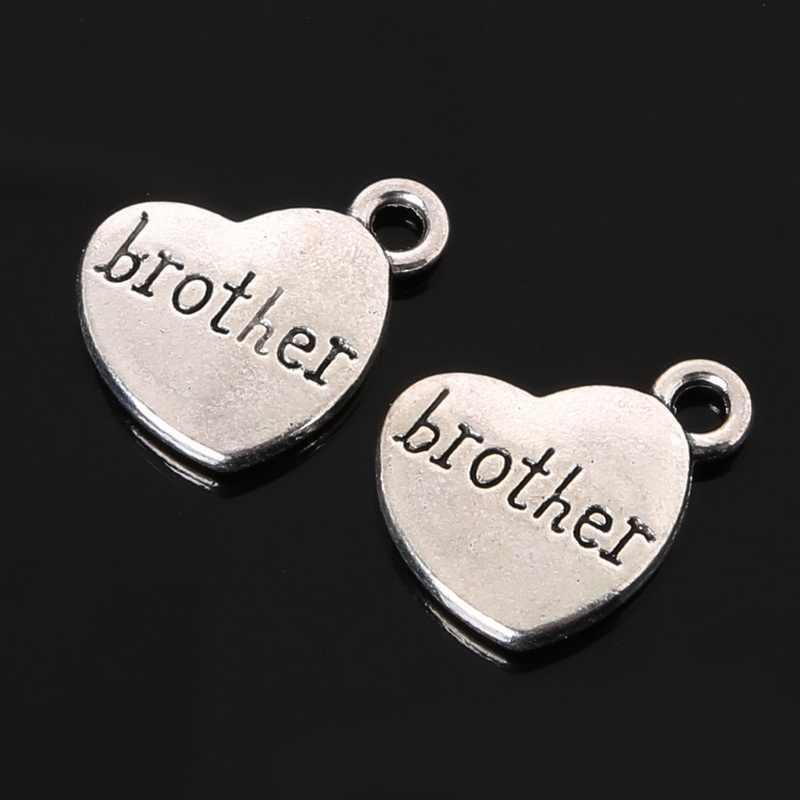 """Gran venta 18x15mm letra de plata antigua """"brother"""" papá"""" hijo """"mamá"""" colgantes con forma de corazón familiar para hacer joyas"""