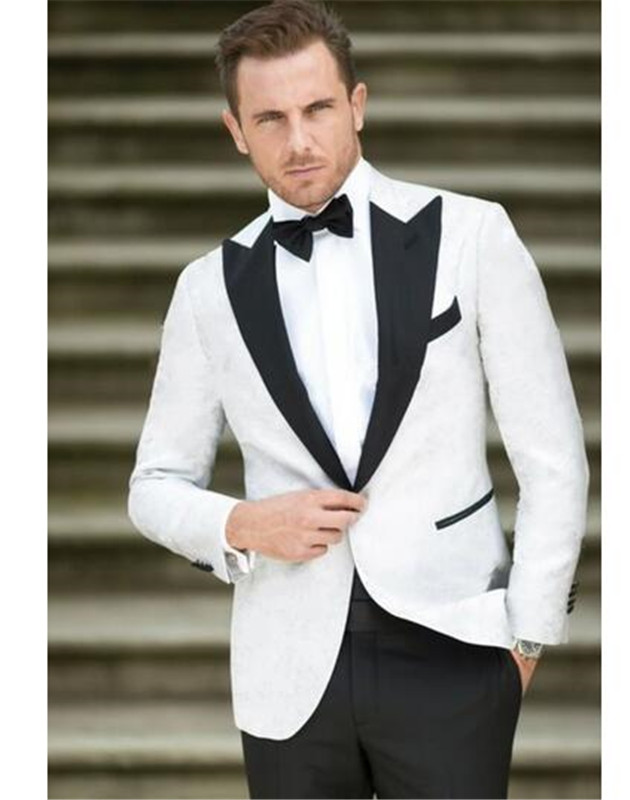 2019 Newest White Men Suit Groom Tuxedos Groomsmen One Button Peak Lapel Custom Made Formal Best Man Men Wedding Suit