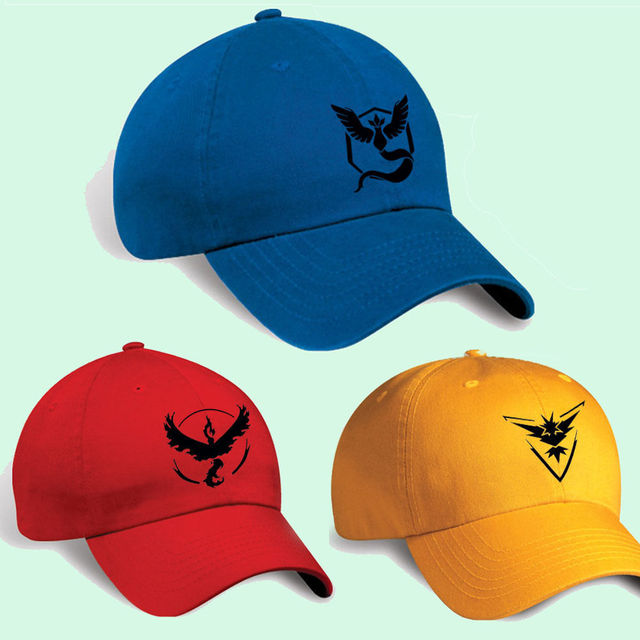 yellow baseball caps wholesale cap amazon new fashion game team mystic instinct valor blue red embroidery adjustable sun uk