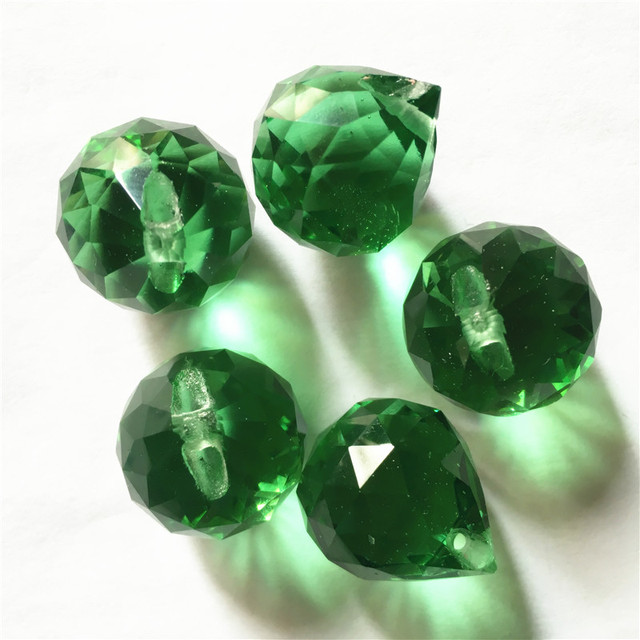 China Top AAA Quality Crystal Balls 20mm 100pcs Dark Green Glass Chandelier Prism Balls for Dining Room Lights Decoration