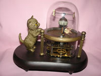 ree shipping Rare Works Wonderful fish-pot glass machine clock with cute cat 7.5# copper tools wedding Decoration Brass