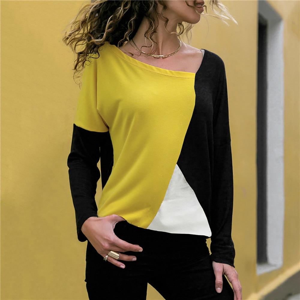 Patchwork Color Block Long Sleeve Blouse Tops Women Autumn Slim Shirt Blouse Clothes Blusa Feminina Camisa Drop Shipping #2s #2