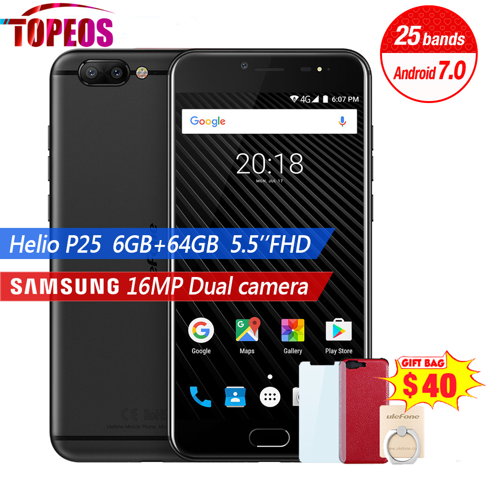Ulefone T1 Dual Cam Mobile Phone 5.5 inch FHD Helio P25 Octa Core Android 7.0 6GB+64GB 16MP Cam Fingerprint 4G Smartphone