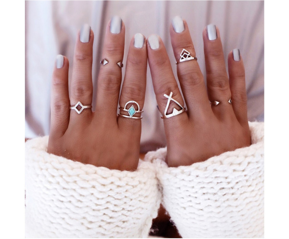 6 Pcs Boho Vintage Punk Geometric Moon Arrow Shape Knuckle Midi Mid Finger Ring Set for Valentine's Day Jewelry Pendientes Mujer