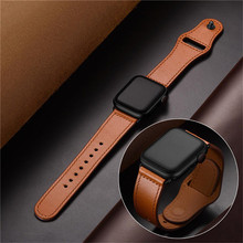 Brown Genuine Leather Band Loop Strap For Apple Watch 4 3 2 1 38mm 40mm , VIOTOO Men Leather Watch Band for iwatch 4 44mm