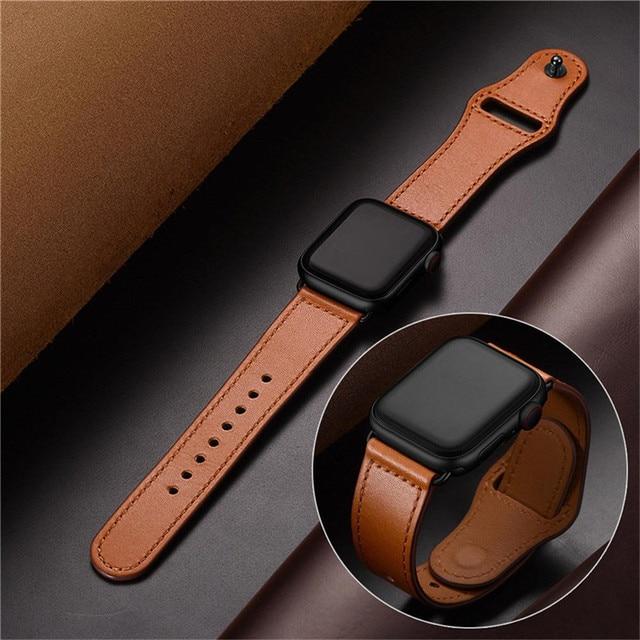 Correa de cuero genuino marrón correa de bucle para Apple Watch 4 3 2 1 38mm 40mm , VIOTOO hombres correa de reloj de cuero para iwatch 4 44mm
