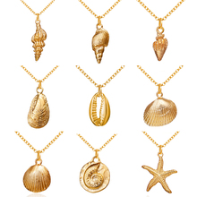 Fashion Cowrie Shell Starfish Pendant Necklaces For Women Girls Gifts Vintage Gold Color Choker Bohemian Necklace Jewelry 2019