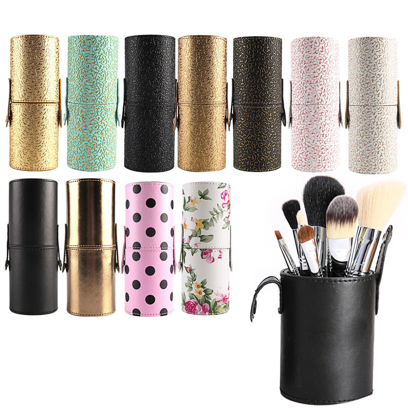 Leather Cosmetic Cup Case Makeup Brush Pen Holder Empty Storage Box Organizer pro makeup brush holder container empty pu leather cosmetic case portable storage organizer cup optional