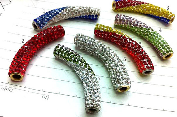 20 pcs 40mm Pave Micro cristal strass polymer clay Cristal Connecteur Bar Tube Courbé trouver bracelet connecteur