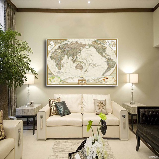 World map painting canvas prints no frame large wall art europe world map painting canvas prints no frame large wall art europe vintage earth maps picture poster gumiabroncs Image collections