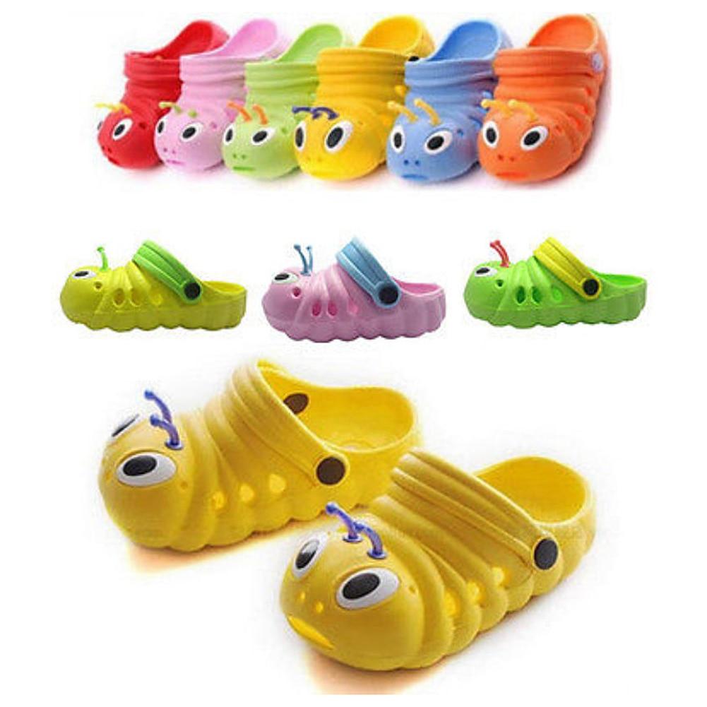 Kid Summer Breathable Caterpillar Sandals Slippers Caterpillar Cartoon Anmial Sandals Boys  Girls Beach Hole Baby Outdoor Shoes