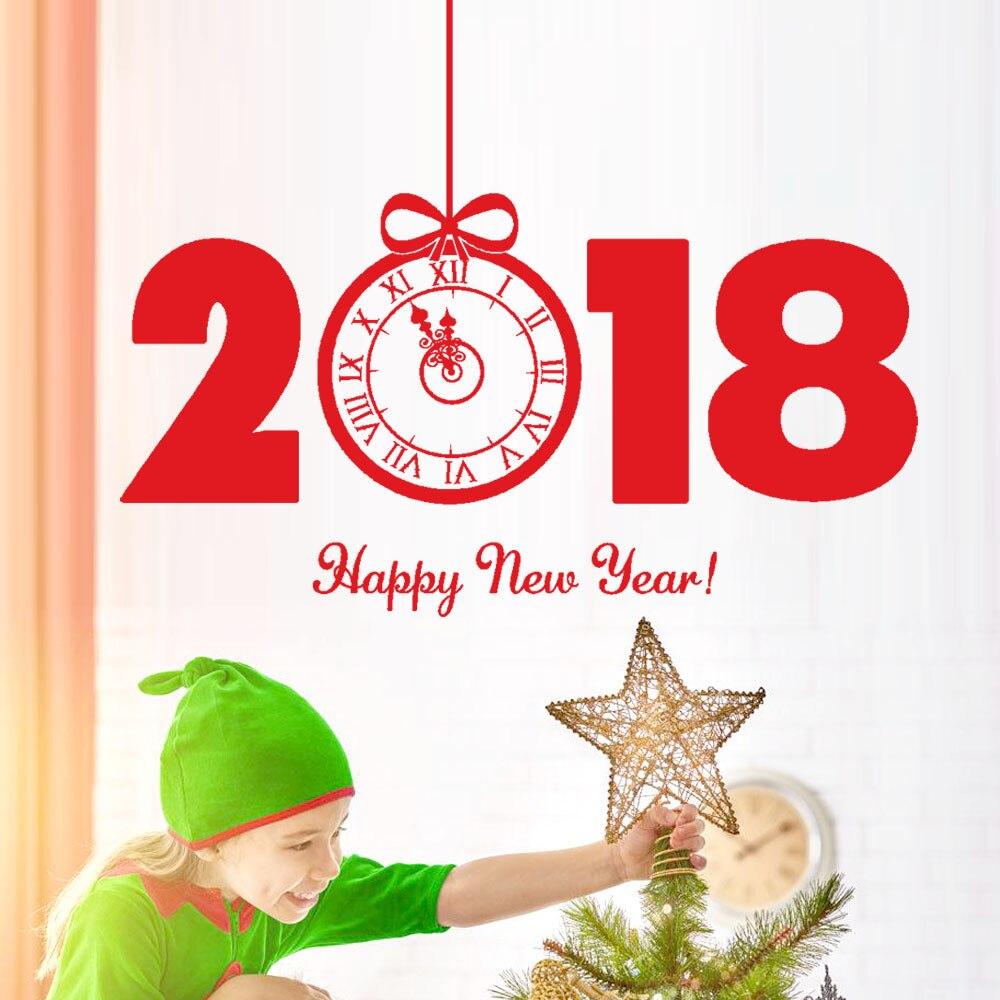 Adesivi Buon Natale.Us 2 21 10 Di Sconto 2018 Felice Anno Nuovo Buon Natale Orologio Creativo Modello Wall Sticker Casa Negozio Di Windows Stickers Decor Fai Da Te