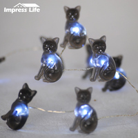 Black Cat LED String Night Lights 30ft USB Copper Wire Dimmer Remote Control for Spooky Halloween Outdoor Indoor Decorations