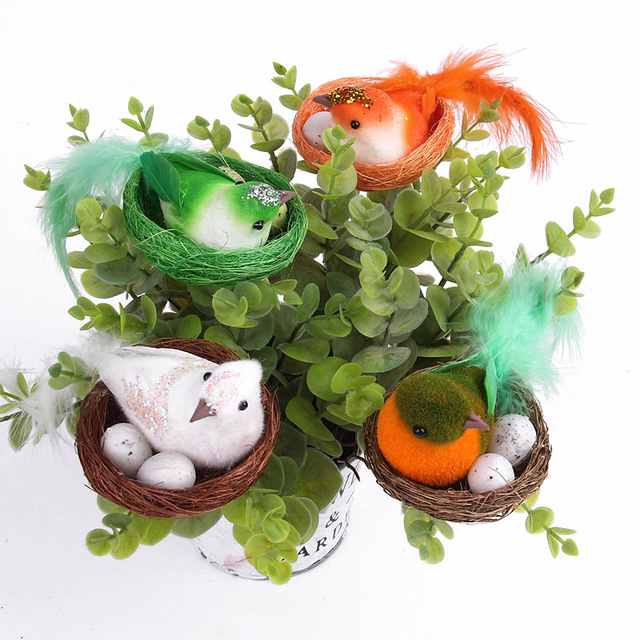 christmas decoration bird nest decorative mini bird artificial foam feather bird with two eggs diy craft